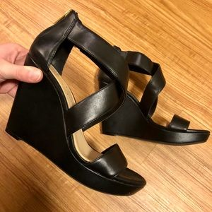 Jessica Simpson Black Leather Wedges